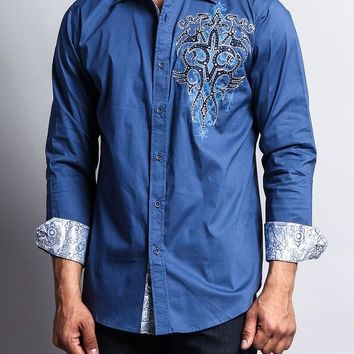 Tribal Spread Fleur de Lis Button Up Shirt SH442 - L1G