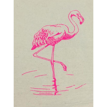 Pink Flamingo Tea Towel - Kitchen Towel - Flour Sack Towel - Dish Cloth - Dish Towel