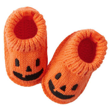 Halloween Pumpkin Crochet Booties