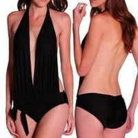 Amour- Sexy Halter Neck One Piece Monokini Women Swimwear Bathing Bath Suit Black (Blk Halterneck)