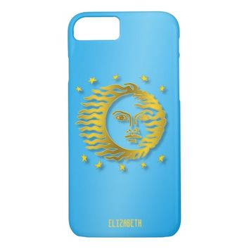 Golden Embossed Sun With Stars And Shadows iPhone 7 Case
