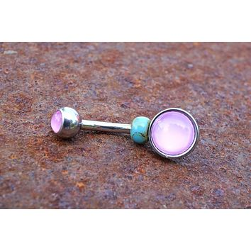 Illuminating Glowing Pink Round Belly Button Ring