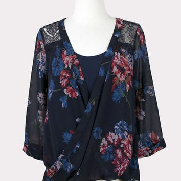 Floral Crossover Blouse