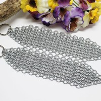 Handcrafted Chainmail Maille Medieval Long Armour Keychains Set of 2