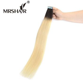 CREY78W MRSHAIR T1B/613 Ombre Hair Tape In Hair Extensions 20pcs Non Remy Human Hair On Adhesive Skin Weft Hair Straight 22Inches
