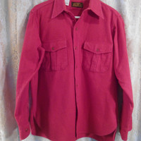 Mens Large Red Eddie Bauer Flannel Thick Dress Shirt Lumberjack Flannel Flap Pockets 2 Pockets Buttoned Vintage Flannel Fall Grunge