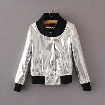 Trendy Sequin PU Moto Women Basic Coats Fashion Jackets Baseball Collar Desainer New Street Bomber Jacket AT_94_13