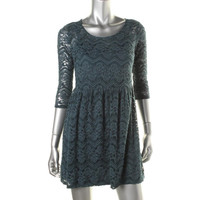 BeBop Womens Lace 3/4 Sleeves Party Dress