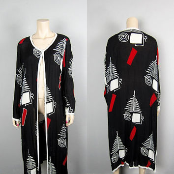 Vintage 80s Sheer Beaded Draped Duster Maxi Jacket 1980s Black Red White India Rayon Embellished Mod Spiral Tree Long Gypsy Jacket