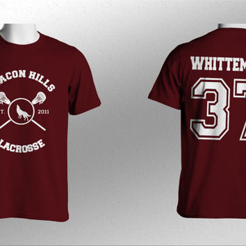 Whittemore 37 Beacon Hills Lacrosse Teen Wolf Men Short Sleeves Maroon Tshirt tee