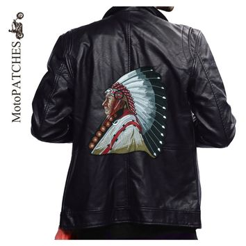 MotoPATCHES Indian Chief Motorcycle Jacket Biker Vest Patches For Clothes Large Skull Embroidered Iron On Patches DIY Accessory
