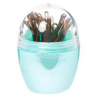 Metallic Mint Case with Brown Bobby Pins