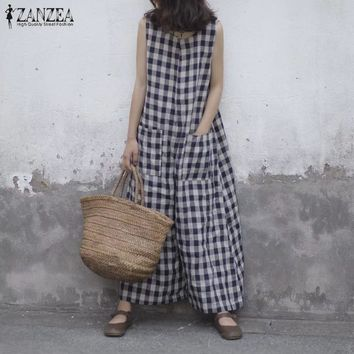2018 ZANZEA Women Summer Plaid Checked Sleeveless Jumpsuits Rompers Loose Casual Wide Leg Pants Baggy Party Overalls Plus Size