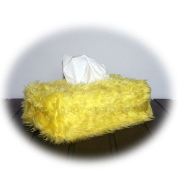 Yellow Fluffy faux fur Rectangular Tissue Box Cover