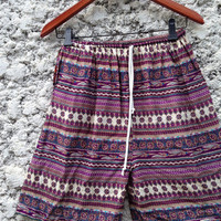20Inch Length Unisex Simi Shorts For Summer Fashion Art Print Boho Beach Hippies Hipster Clothing Aztec Bohemian Ikat Comfy Chic in Red