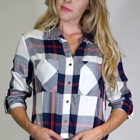 Cropped Plaid Button Down