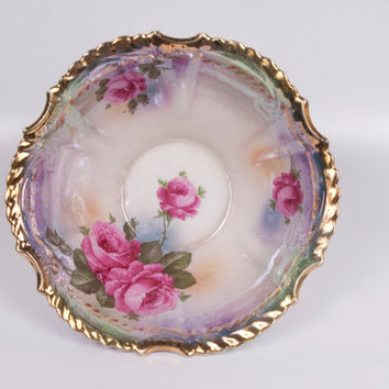 Prussia Footed Bowl Silesien Germany Hand Painted Porcelain Pink Roses Ruffled Edge 1900s