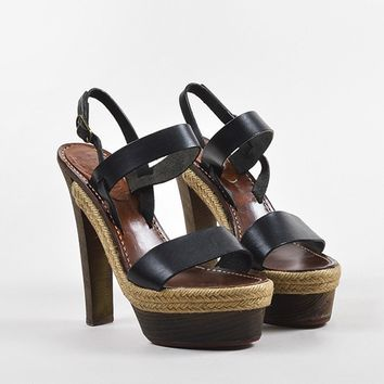KUYOU Christian Louboutin Black Leather Wooden Heel Platform  Satrinxa  Sandals