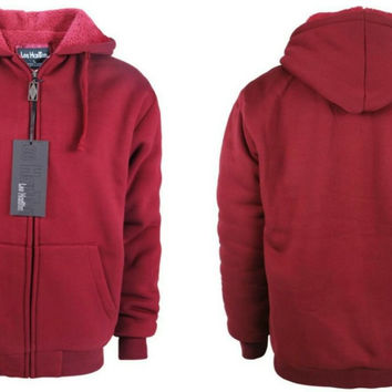 Men's Fleece Hoodie with Sherpa Lining - Wine Case Pack 12