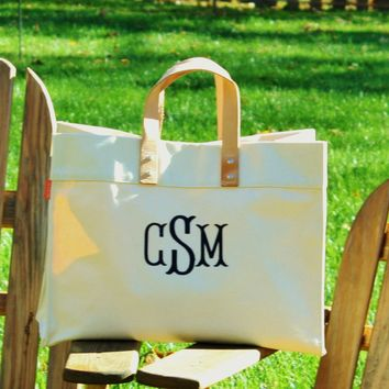 Monogrammed Large Utility Tote Bag Personalized Beach Embroidered Monogram Name Natural