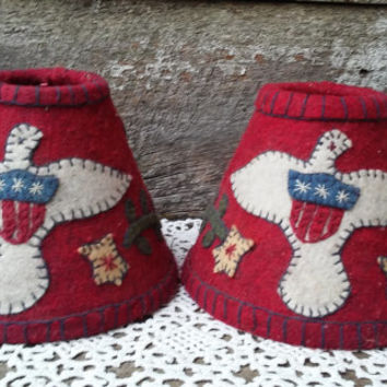 Felt Lamp Shade, Patriotic, SET OF 2, Red White and Blue, Small, Colonial, Primitive, Eagles, Stars, Pennies, Felt Wool, Lamp Coverings