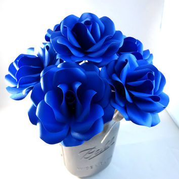 Royal Blue Paper Flowers with Stem - Paper Rose - Paper Flower - Anniversary Gift - Wedding Flowers - Bouquet - Home Decor - Valentine's Day