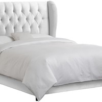 Skyline Furniture Waveland Wingback Queen Bed Upholstered in Velvet White