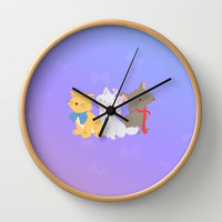 three aristocats..  Wall Clock by studiomarshallarts