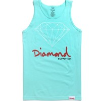 Diamond Supply Co Script Logo Tank Top - Mens Tee - Green -