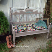 Painted furniture, bench, boho, gypsy, shabby chic, furniture, bed, chair, girl UPcycled, etsy, Christmas gift, holiday