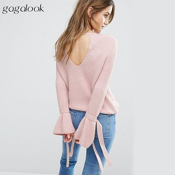 gagalook Bell Sleeve Sweater Women Autumn Winter 2017 Cut Out Back Knitted Pullovers Female Pull Femme Jumper T0055