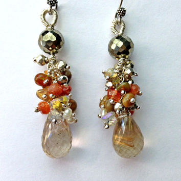 Rutilated Quartz Earrings Wire Wrap Gem Cluster Sunstone Ethiopian Opal,Pyrite, Herkimer Diamond Crystal, Mixed Metal Fall Cluster Earrings