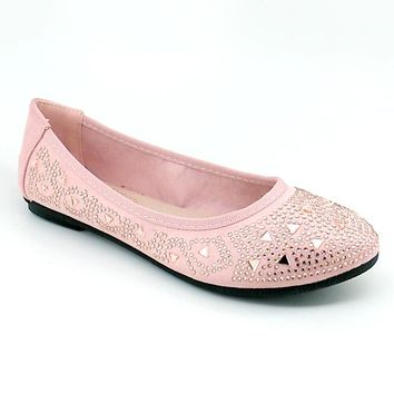 Women's Dusty Pink Flats with Rhinestones