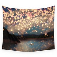 "Society6 Love Wish Lanterns Wall Tapestry Small: 51"" x 60"""