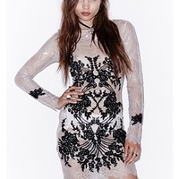 For Love & Lemons Lacey Dreams Mini Dress in Dove Grey | ShopAmbience