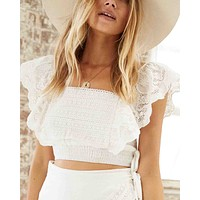 Somedays Lovin - Carry Away Eyelet Lace Crop Top - Off White