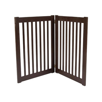 Dynamic Accents Two Panel Large EZ Pet Gate / Dog Safety Barrier - Mahogany