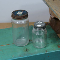 2 Vintage Rexall Drug Glass Jars with Metal Lids . Circa 1940s & 1960s . Owens Illinois Glass Co. . Collectible Glass