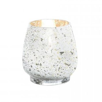 Distressed Silver Mercury Glass Candle Holder - 4.5 inches