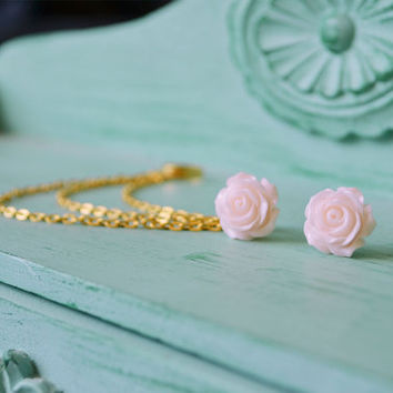 Pale Pink Rose Bloom Triple Gold Chain Ear Cuff by oflovelythings