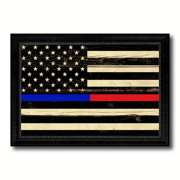 Thin Blue Line Police & Thin Red Line Firefighter Respect & Honor Law Enforcement First Responder American USA Flag Vintage Canvas Print with Picture Frame Home Decor Wall Art