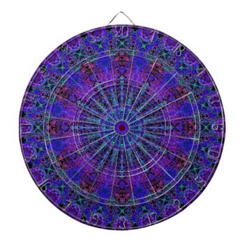 Boho-Romantic blue-colored mandala ornament Dart Board