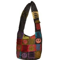 Hobo Hippie Ripped Razor Cut Peace Om Spiral Sign Shoulder Crossbody Bag Nepal Fair Trade