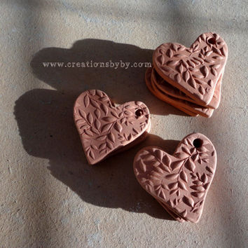 Handmade Heart, Leaves and Branches Textured Terracotta Bisque Ceramics Unglazed, Aromatherapy Essential Scented Oil Diffuser Pendants