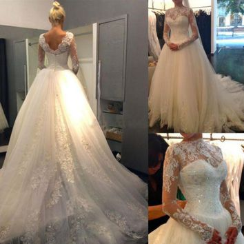 PEAPIH3 Fashion bride wedding lace word long sleeves halter bride tail wedding dress new