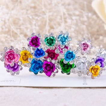 20Pcs/Lot Women Wedding Bridal Crystal Rhinestone Rose Flower Hairpins Hair Clips Hair Accessories Jewelry P20