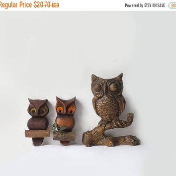 ON SALE - Retro Owl Plaques, Lot of 3 Mid Century Wall Hangings, 1970's Woodland Birds, Vintage Home Decor