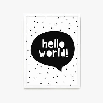 Hello World Nursery Print Wall Art Printable, Baby Shower Decoration, Gender Neutral, Colorful, Playroom Decor, Sun, Inspirational Quote
