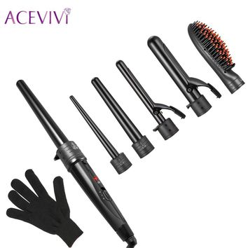 ACEVIVI 5 in 1 Interchangeable Hair Curling Iron Hair Straightener Multifuctional Machine Ceramic Hair Styling Set EU UK US Plug