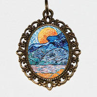 Moonrise Necklace, Van Gogh, Moon Jewelry, Oval Pendant